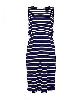 navy stripe nursing midi dress