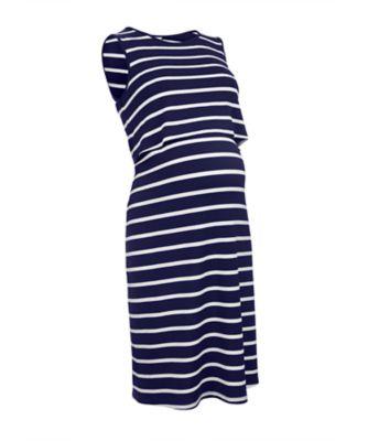 navy stripe nursing midi dress