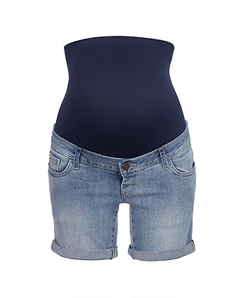 3ec571f3429 light-wash denim maternity shorts