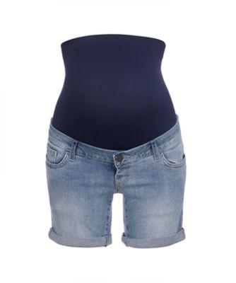 light-wash denim maternity shorts