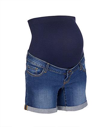 dark-wash denim maternity shorts