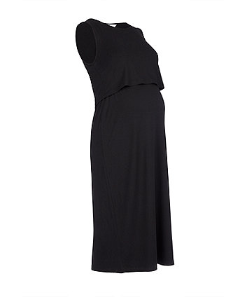 black nursing midi dress