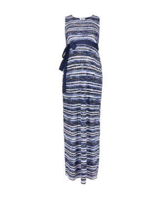 blue printed maternity maxi dress