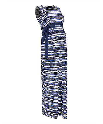 blue printed maternity maxi dress