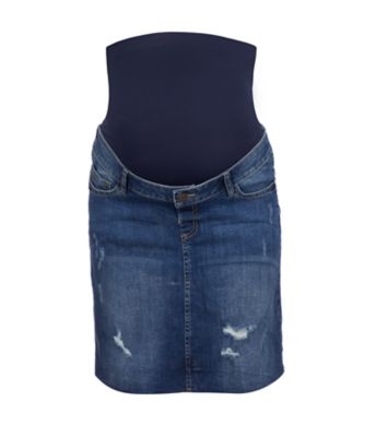 over the bump mid wash denim maternity skirt