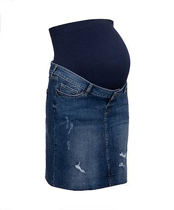over the bump mid wash denim maternity skirt