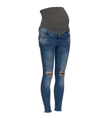 over-the-bump rip and repair maternity jeans
