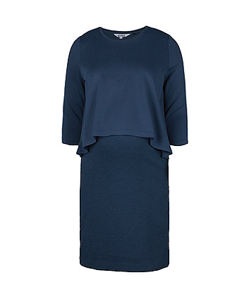 navy ponte double-layer nursing dress