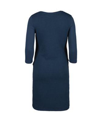 navy ponte double-layer nursing dress
