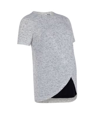 grey marl wrap hem nursing top