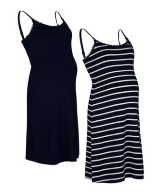 navy and striped nursing nightdresses - 2pack