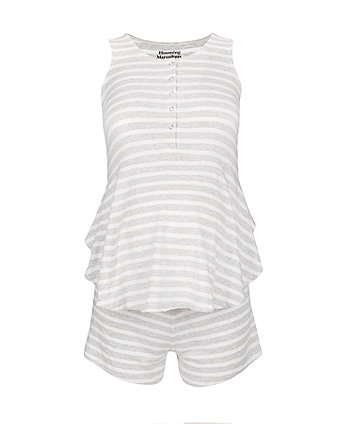 striped peplum shortie nursing pyjamas