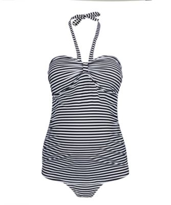 black and white striped maternity tankini