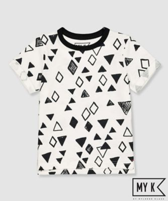 my k white and black geometric shapes t-shirt