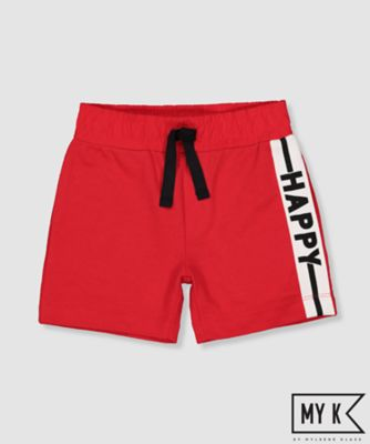 my k red happy shorts
