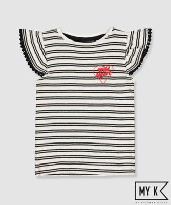 my k striped wild heart frill t-shirt