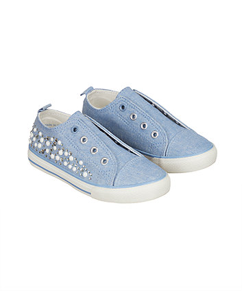 laceless denim gem trainers