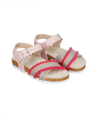neon pom footbed sandals