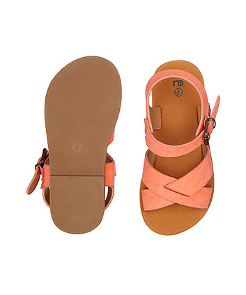 coral crossover sandals