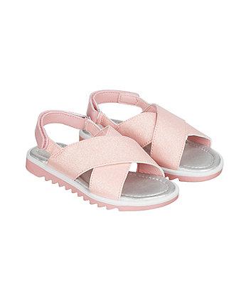 pink glitter trekker sandals
