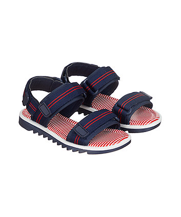 navy striped trekker sandals
