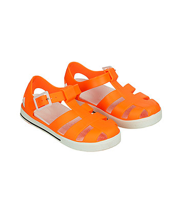 neon orange jelly sandals