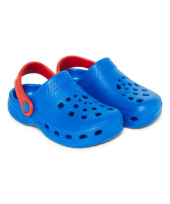 blue and red clogs
