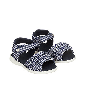 first walker navy gingham ruffle sandal