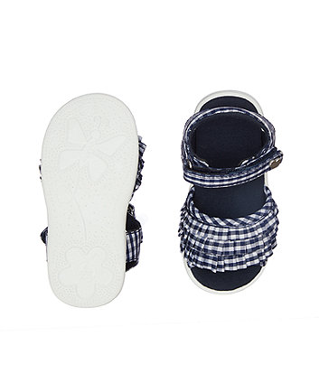 first walker navy gingham ruffle sandal