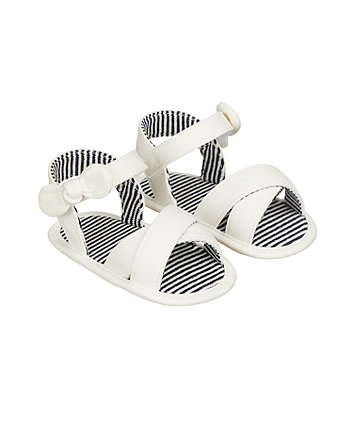 white crossover sandal pram shoes