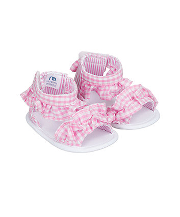 pink gingham ruffle sandal pram shoes