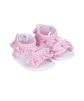 pink gingham ruffle sandal pram shoes