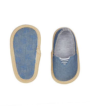blue chambray espadrille pram shoes
