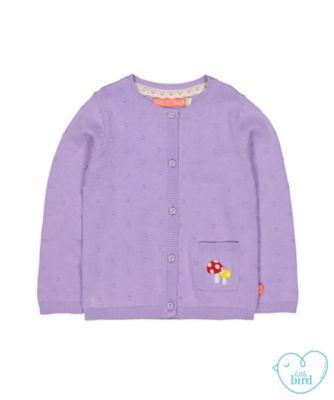 little bird purple rainbow cardigan