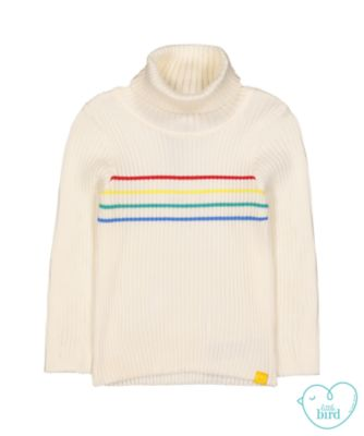 little bird rainbow roll-neck jumper