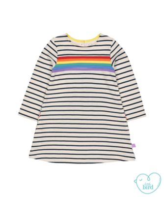 little bird striped rainbow dress