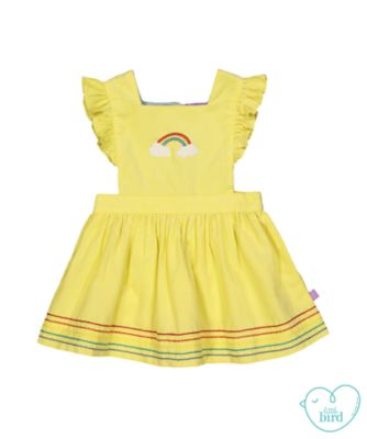 little bird yellow rainbow pinny
