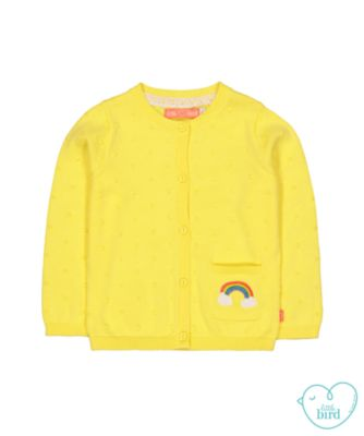 little bird yellow rainbow cardigan