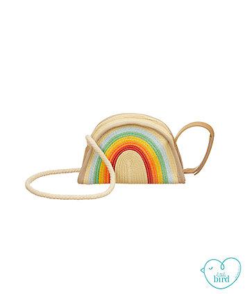 little bird rainbow straw bag