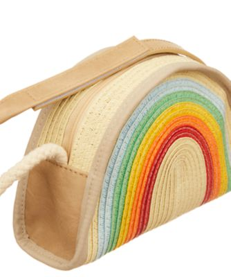 little bird rainbow straw bag