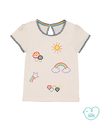 little bird white appliqué t-shirt