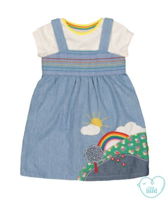 little bird denim dress and t-shirt set