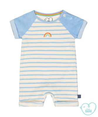 little bird striped towelling romper