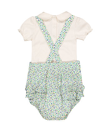 little bird floral romper and bodysuit set