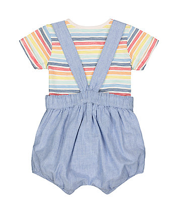 little bird chambray shorts and stripe bodysuit