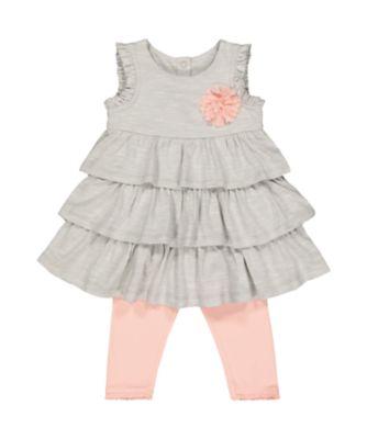 grey ruffle dress and pink leggings set