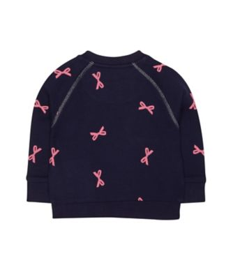navy bow sweat top
