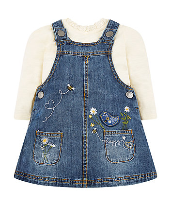 bird and flowers denim pinny and t-shirt set