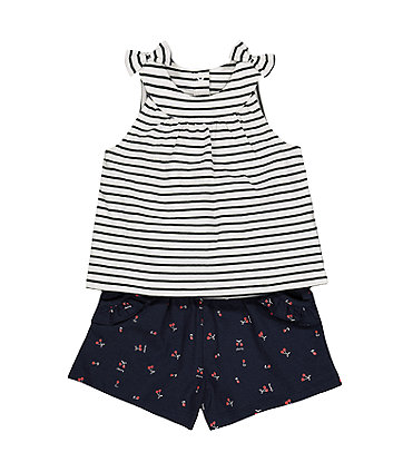 striped top and shorts set