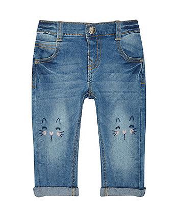 cute cat blue denim jeans